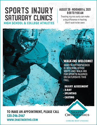 Redding sports injury treatment. Image of flyer for Shasta Orthopaedics' Saturday Sports Injury Clinics showing football players and information about the clinics.